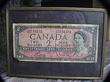 1954 canadian 2$ bill framed / sixty years old!