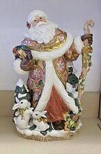 Fitz and Floyd Snowy Woods Santa Centerpiece Vase Figurine NIB