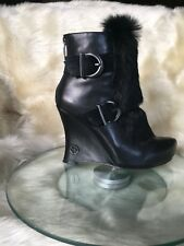 House of Harlow 1960 black leather ankle boots , wedge heels / rabbit fur,s.36
