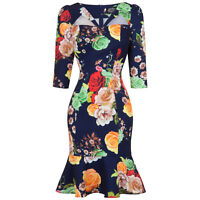Hearts & Roses London Navy Floral Fitted 1950s Peplum Hem Pencil Wiggle Dress