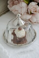 Platte Teller mit Haube Servierplatte Glas Glocke Glasdome Shabby Vintage