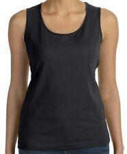 Ladies Tank Top  Black Shirt -  Thick Strap - LAT - Cotton - Blank - Sm - 2X