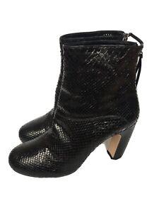 MIU MIU Black Snake Leather Heel Boots 38 1/2 IT