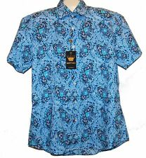 Bertigo White Blue Floral Cotton Stylish Men's Shirt Sz XL 5 NEW $189