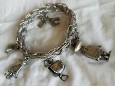 Vintage STERLING Silver Link Charm Bracelet w/five  western charms. Mexican,BELL
