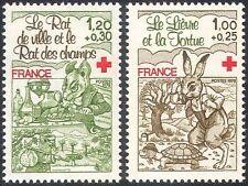 Francia 1978 Cruz Roja/médico/salud/bienestar/libros/Tortuga/liebre 2 V Set (n29941)
