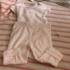 Precious First By Carters 3 M 2 Pc Bodysuit Pants  Pink Hearts Short Sleeve