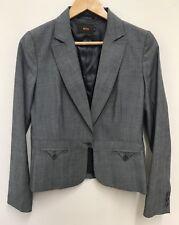 Reiss Womens Single Button Formal Office Grey Blazer Jacket Wool Blend Size 10UK