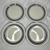 Tienshan Country Crock Set of 4 Salad Plates Blue Band Trim 7 3/4""