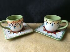VIDA EVA MENDES Espana Catalina Handpainted 4 Piece Espresso Coffee Set