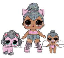 Iron on Transfer LOL DOLLS DOLL KITTY QUEEN GLITTER LIL SISTER PET PETS DJ CAT