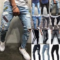 Men Ripped Biker Skinny Jeans Frayed Destroyed Stretch Slim Casual Denim Pants