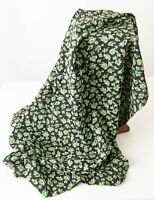 Deadstock Silky Rayon Print Yardage 1930s-40s Green on Black Design 3.4 yds