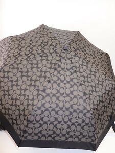 """NWT $88 COACH Grey and Black Signature """"C"""" Automatic Retractable Umbrella"""
