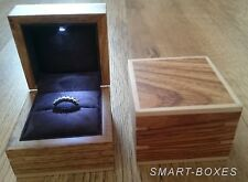 Natural Wood Ring Box with LED Light. Wedding Ring Box or Engagement Ring Box