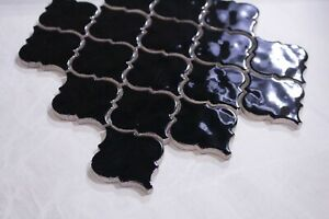 Lantern Handmade-Look Gloss Black Ceramic Mosaic Tile Sheet 286x306
