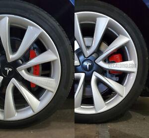 Fits 2017+ Tesla Model 3 Red Caliper Wrap Overlays - Reflective precut cover