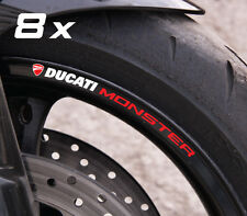 8 x Ducati Monster wheel decals rim stickers stripes set new m4s Laminated!