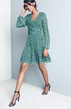 NWT $428 DVF Diane von Furstenberg Ashlynn Cube Print Silk Sheer Blouson Dress 0