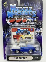 Muscle Machines '55 Chevy Blue/White 1:64 Scale 03-27 FREE SHIPPING