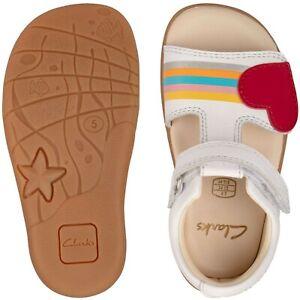 BNIB Clarks Toddler Girls Zora Rain White Leather Sandals F/G Fitting