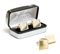 Personalised Square Gold Cufflinks with Luxury Chrome Case - Engraved