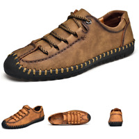 Mens Size Plus Leisure Leather Shoes Work Driving Moccasins Loafers Lace up New