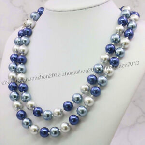"Long 36"" 10MM Multicolor South Sea Shell Pearl Round Beads Necklace AAA"