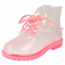 *SALE* Spot On H5026 Girls Fuchsia Transparent Lace Up PVC Jelly Ankle Wellies