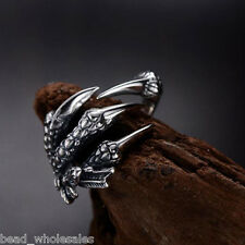 Stainless Steel Ring Unisex's Men Silver Adjustable Dragon Claws Band Jewelry