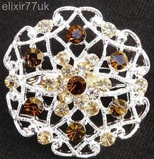 SILVER FLOWER BOUQUET BROOCH BROWN & AMBER DIAMANTE CRYSTAL WEDDING PARTY BROACH