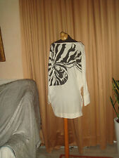 STELLA MC CARTNEY BLACK & WHITE   DOLMAN SLEEVES SILK MINI DRESS TOP SZ I 42