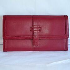 LL Bean Womens Travel Clutch Case Organizer Passport Ticket Holder Red Wallet
