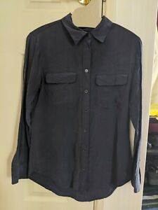 Equipment Silk Buttoned Blouse Navy Size S