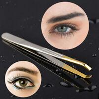 Eyebrow Tweezers Clip Eyelash Extension Hair Removal Slant Tip Makeup Tool Great