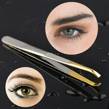 1X Eyebrow Tweezers Clip Hair Removal Slant Tip Stainless Steel Makeup Tools