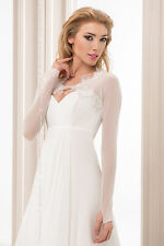 New Womens Bridal Ivory/White Tulle Lace Bolero Shrug Wedding Jacket - CRYSTALS