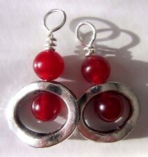 Double Bauble Red Jade Drop Dangle Natural Earrings USA Kirsten Made Silver Hook