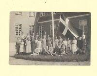 X Denmark 1908-39 antique RPPC real photo postcard LADIES & GIRLS WITH FLAG