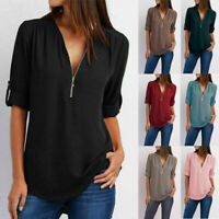 Women V-Neck Zipper T Shirt Loose Casual Blouse Long Sleeve Summer Top Plus Size