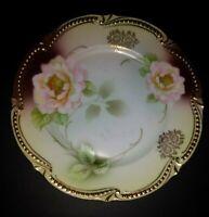 "Vintage RS Silesia 6"" Porcelain Bowl white Pink Roses Gold moriage trim GORGEOUS"