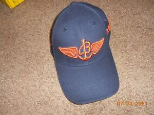 Breitling Watches 1884 Strapback Cap Hat Navy Blue With Orange Wings Rare