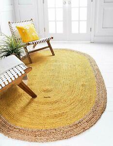 Rug 100% Natural Jute 90x150 cm Reversible Oval Area Dhurrie Carpet Mat Rag Rugs