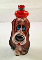 Vintage Lugenes Sad Basset Hound Dog Ceramic Figure with Water Bottle on Head