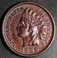1896 INDIAN HEAD CENT - With LIBERTY & DIAMONDS - XF EF