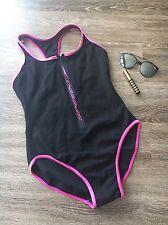Vintage 90s Style Womens Speedo Swimsuit Size 12 Black Zip Front One-piece