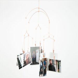 Kikkerland Copper Photo Clip Hanging Mobile Picture Frame Kinetic Art Decor