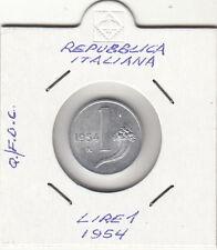 ITALIA LIRE 1 VECCHIO TIPO BILANCIA CORNUCOPIA -  QUASI FDC 1954 PREZZO SPECIALE