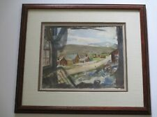 MYSTERY PAINTING AWS IMPRESSIONISM VINTAGE TOWN REGIONALISM LANDSCAPE SIGNED