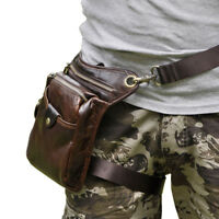 Hombres Bolso Bolsa Leather Travel Hiking Motorcycle Fanny Waist Pack Leg Bag